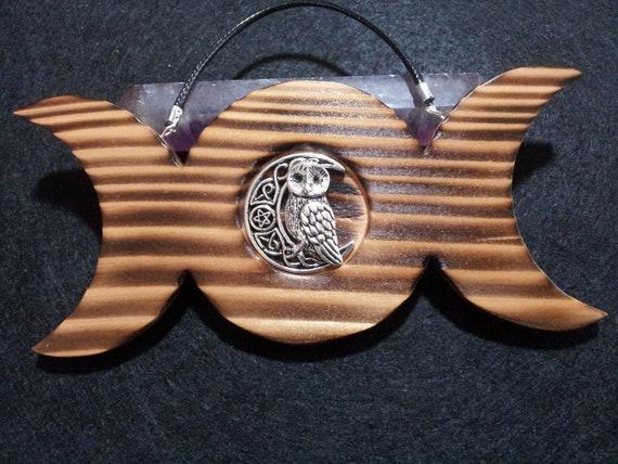 Triple Moon Owl Wall Hanging, Triple Moon Wall Art