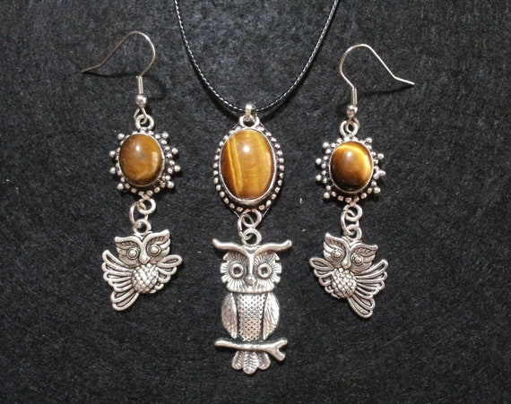 Owl Tiger Eye Necklace and Earrings Set, Crystal Jewelry Set,crystal healing jewelry,gift for her,mother's day,owl jewelry set,bird jewelry