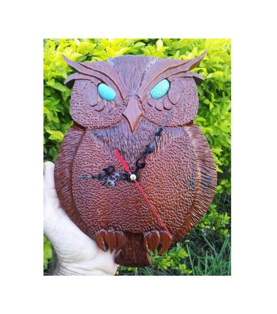 Owl Clock with Turquoise eyes hand carved from red cedar, Owl Clock, Unique Clocks, Wooden Clocks, Handcarved Owl Clock, Owl Decor