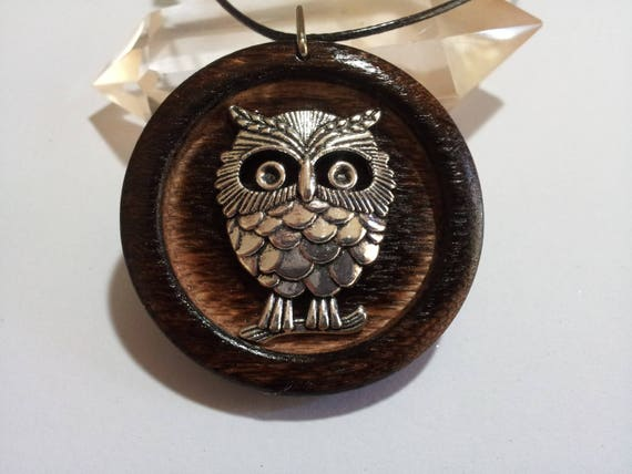 Owl Pendant in Burnt Oak +  Worldwide, owl jewelry, rustic jewelry, owl necklace, owl in oak, gypsy jewelry, reclaimed wood