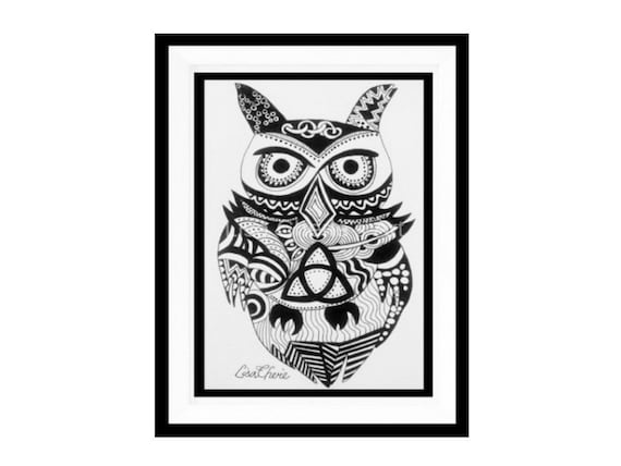 Instant Download,Digital File Art, Triquetra Owl, Trinity Knot, Celtic Knot, Bird Art, Black and White Art, Spiritual, Symbolic, Owl Totem