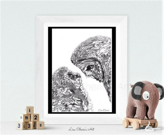 Owl Mother and Baby Print, owl pencil drawing print, mom baby owl, nursery prints, nursery, bird artwork, motherhood,parenthood,newborn gift