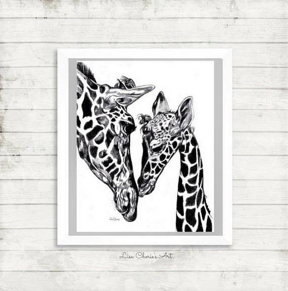 Mother And Baby Giraffe Print Giraffe Drawing Mom Baby Etsy