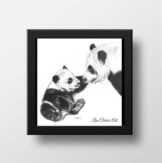 Maman Et Bebe Panda Panda Dessin Art Panda Impressions Etsy