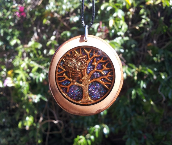 Tree of Life and Owl Pendant encased in Clear Resin in Reclaimed Laurel with Bark,animal jewelry, unisex gift, bird necklace, rustic, unique