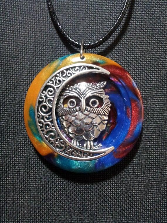 Owl and Moon in Multicoloured Pearl Resin + Free Shipping Worldwide, owl and moon jewelry, owl jewelry, moon jewelry, gypsy jewelry