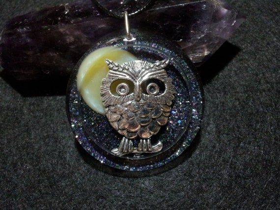Owl and Moon in Black and Purple Pearl Resin with Holographic Glitter, Free Shipping, hippie necklace, moon jewelry, gypsy jewelry, bird