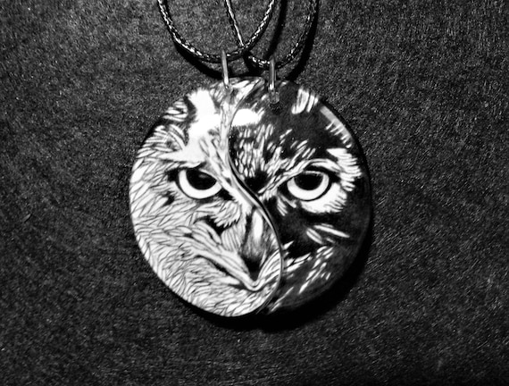 Owl Friendship Necklaces, Best Friends, Anniversary Jewelry, Friendship jewelry, BFF gift, anniversary gift, bird pendants, yin and yang