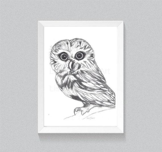 Owl Print, Owl Art, Prints, Owl decor print, Owl lover, wall art, home decor, bird art, pencil drawing print, Owl totem