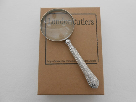Silver Plated Magnifier Handle Magnifying Glass Loupe /& Letter Opener Vintage