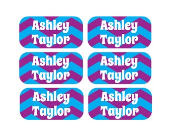 100 - Personalized Clothing Tag Labels, Laundry Care Tag Labels, Camp Clothing Labels - Chevron