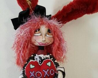 Valentine Bunny Cloth Doll - Cloth Art doll - OOAK Cloth doll - Fabric Doll - Bunny cloth Doll - Textile Doll - Rabbit Art doll - Cloth doll