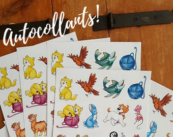 Removable animal stickers, Petit Pois Collection stickers for kids with cute animals