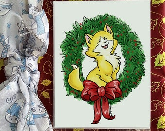 Christmas greetings card, Macha the kitten, for holidays and special occasion, envelope included, christmas card