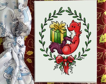 Christmas greetings card, Fifi la fouine, for holidays and special occasion, envelope included, christmas card