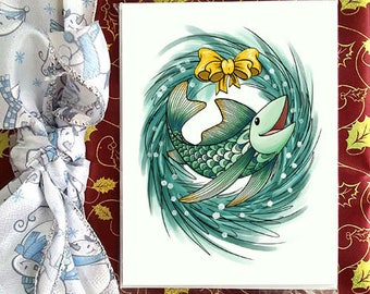 Christmas greetings card, Petit Poisson, for holidays and special occasion, envelope included, christmas card
