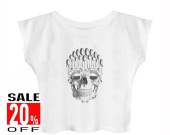 Spoon Skull shirt skull tshirt art shirt graphic top tumble t shirt women graphic tshirt blogger tee women shirt crop top cropped shirt