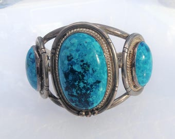 Signed Chief Dodge Sterling Turquoise Cuff Bracelet
