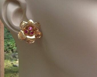 Retro 1940 14K Rose Gold Ruby Earrings