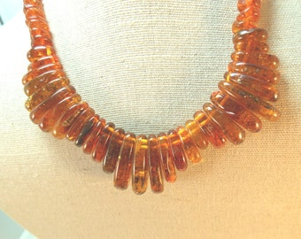 Natural Baltic Amber Vintage Bead Necklace