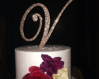 FREE Shipping in US! Glitter Cake Topper. Monogram Cake Topper. Cake Topper. Wedding Topper. Birthday Cake Topper. Glitter. Glitter Cake.
