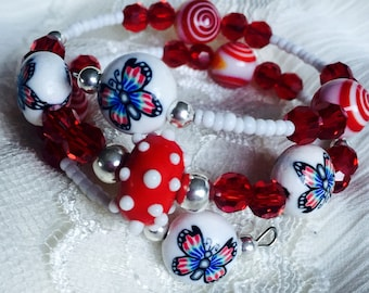 Patriotic Girls Butterfly Bracelet / Eye of Protection Bracelet /  Childs 4th of July jewelry / Red White Blue Bracelet / Princess Jewelry