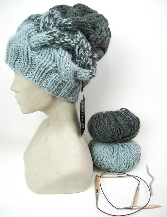 Patrón de punto sombrero Slouchy con cable trenza de dos | Etsy