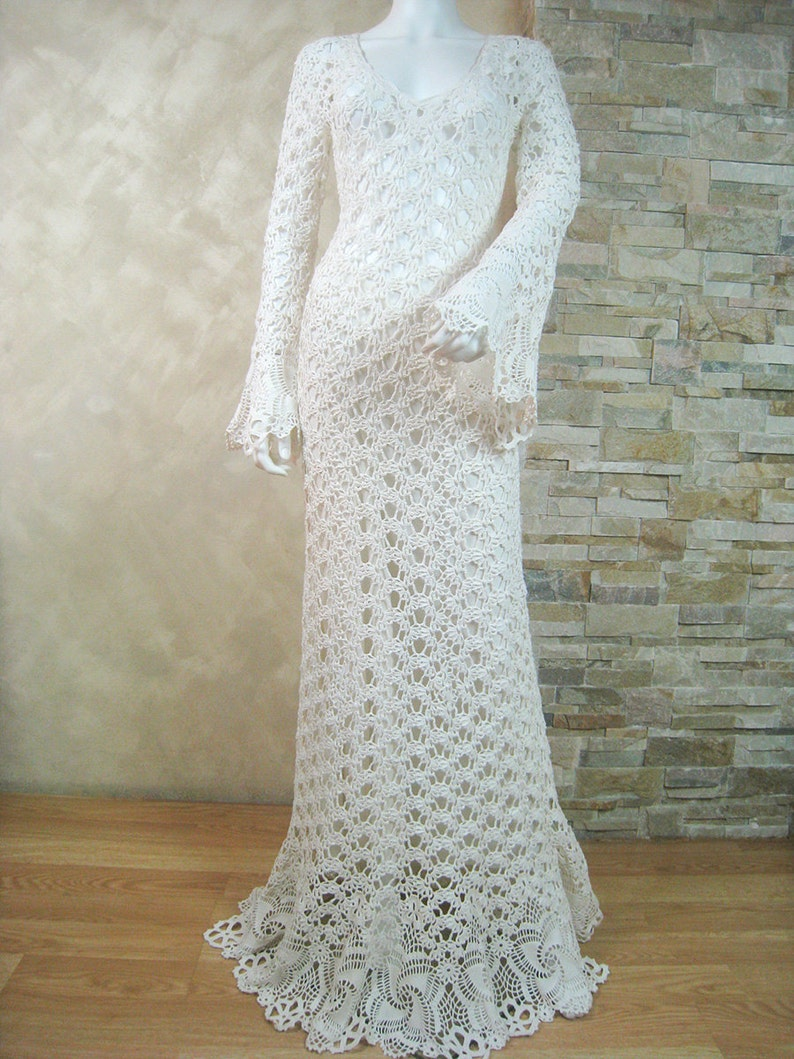 Crochet Wedding Dress.Exclusive Ivory Crochet Wedding Dress Handmade Crochet Bride Dress Lace Bridal Dress The Finished Product In A Single Original