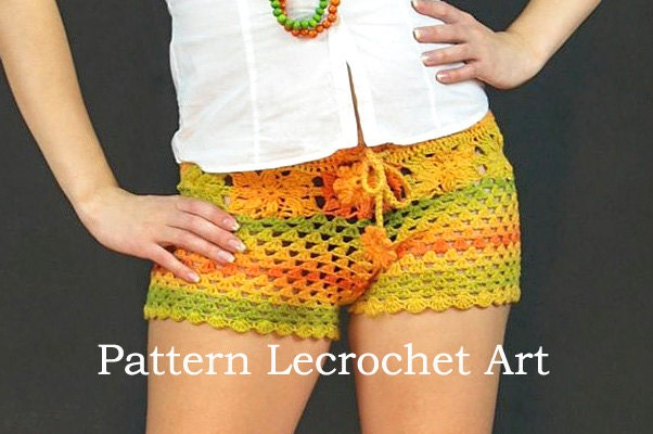 Crochet Pattern Womens Shorts Pattern Beach Shorts Color Of Etsy