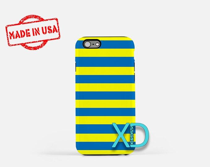 Blue Stripe iPhone Case, Yellow Stripe iPhone Case, Lines iPhone 8 Case, iPhone 6s Case, iPhone 7 Case, Phone Case, iPhone X Case, SE Case
