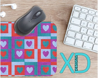 Fabric Heart Mouse Pad, Fabric Heart Mousepad, Collage Rectangle Mouse Pad, Purple, Red, Collage Circle Mouse Pad, Fabric Mat, Computer