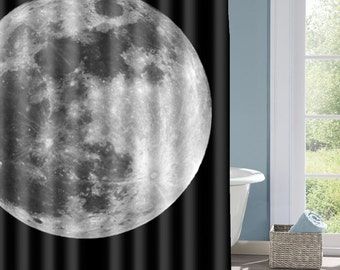 Full Moon Shower Curtain, Moon  Bath Curtain, Super Moon Curtain, Outer Space, Interesting Shower Curtain, Custom Shower Curtain, Decorative