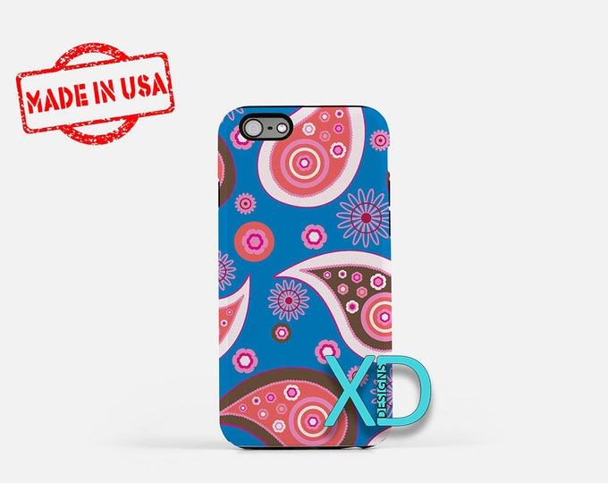 Blue and Pink Paisley iPhone Case, Paisley iPhone 8 Case, Pink Paisley iPhone 6s Case, iPhone 7 Case, Phone Case, iPhone X Case, SE Case