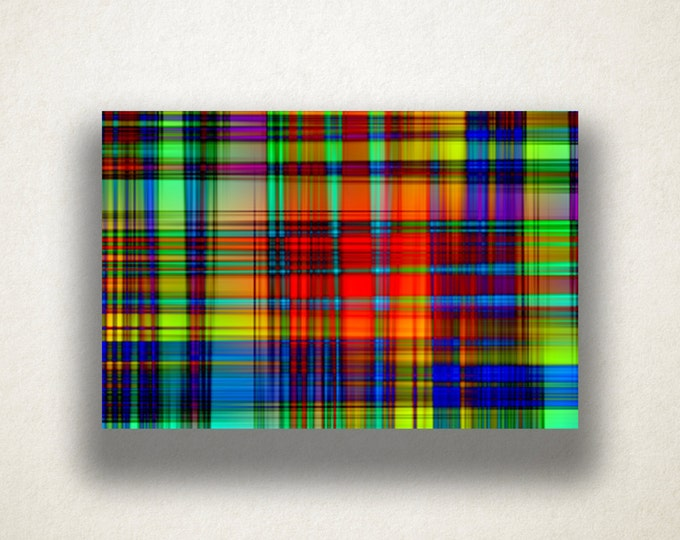 Abstract Plaid Canvas Art Print, Plaid Wall Art, Rainbow Weave Canvas Print, Close Up Wall Art, Canvas Art, Canvas Print, Home Art, Wall Art