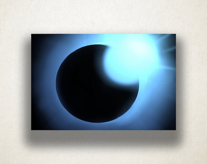 Blue Sun Eclipse Canvas Art Print, Sun Wall Art, Solar Eclipse Canvas Print, Close Up Wall Art, Canvas Art, Canvas Print, Home Art, Wall Art
