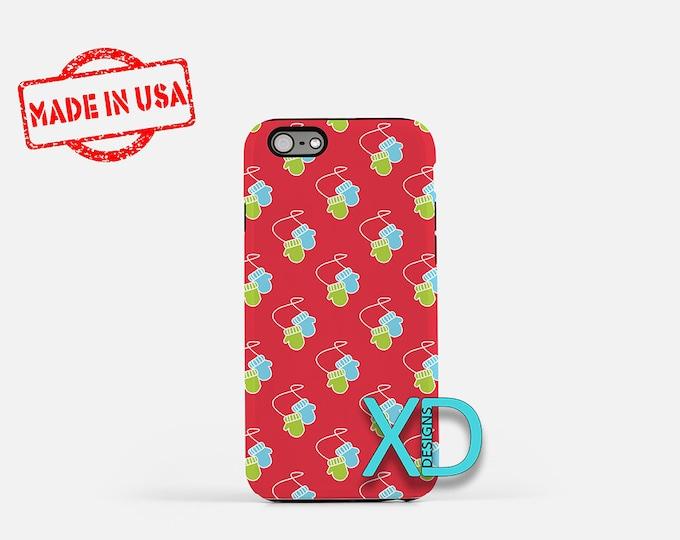 Mitten Phone Case, Mitten iPhone Case, Snow iPhone 7 Case, Red, Green, Snow iPhone 8 Case, Mitten Tough Case, Clear Case, Gloves, Winter