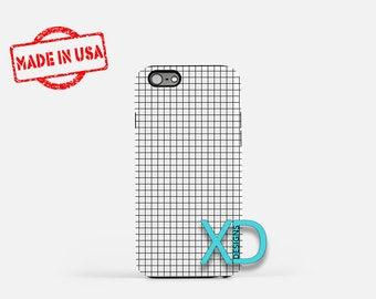 Grid Phone Case, Grid iPhone Case, Tiny Square iPhone 7 Case, Black, White, Tiny Square iPhone 8 Case, Grid Tough Case, Clear Case, Frame