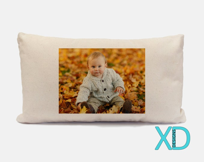 Custom Canvas Pillow Case,  Beige Custom Designed Lumbar Pillow Case, Soft Natural Canvas Personalized Baby Nursery Decor, 18x10.5 Inch
