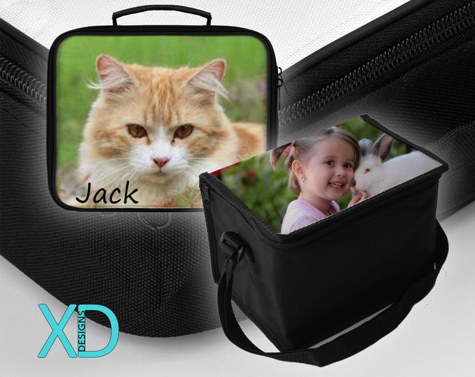Personalized Lunch Box or Lunch Cooler, Black, Polyester, Custom Lunch Bag, Personalized, Make Your Own, Back To School, Kid's, Work, Gift
