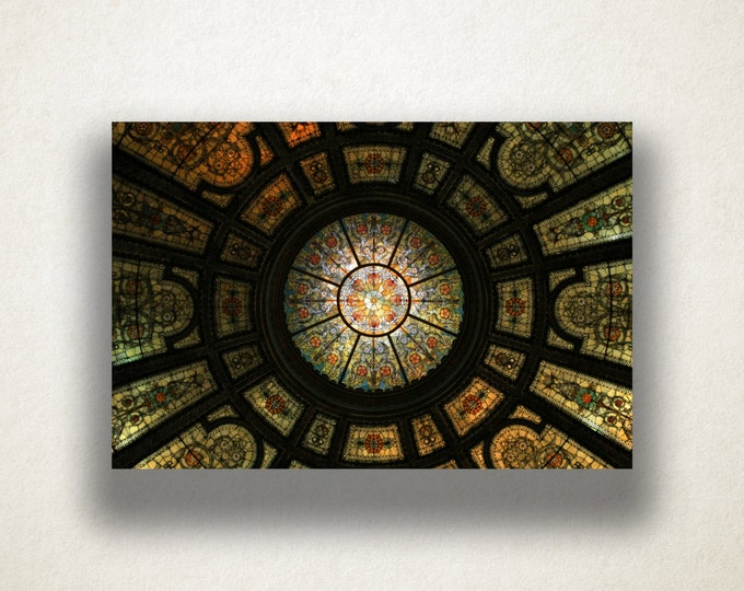 Stained Glass Photogragh Canvas Art Print, Church Ceiling Wall Art, Staind Glass Canvas Print, Canvas Art, Canvas Print, Home Art, Wall Art