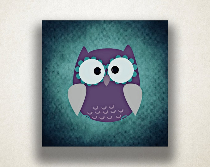 Cartoon Owl Canvas Art Print, Purple Owl Wall Art, Cartoon Canvas Print, Artistic Wall Art, Canvas Art, Canvas Print, Home Art, Wall Art