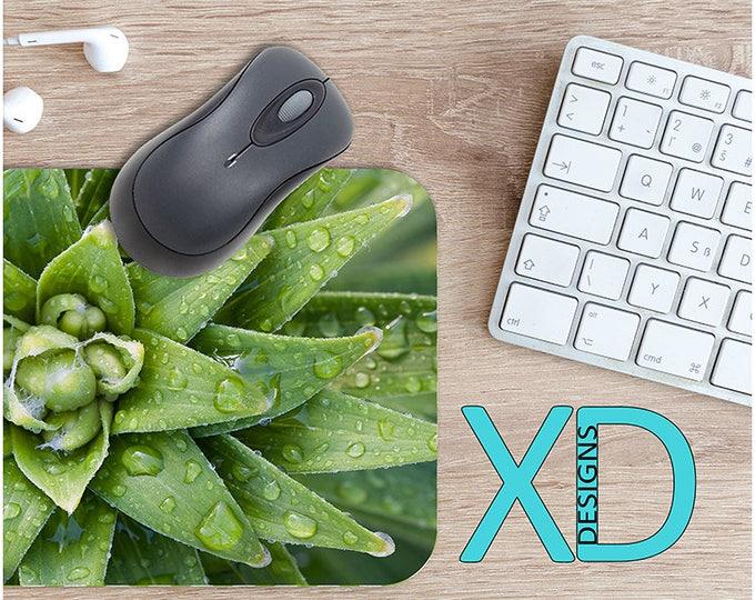 Plant Mouse Pad, Plant Mousepad, Rain Rectangle Mouse Pad, Green, Rain Circle Mouse Pad, Plant Mat, Computer, Leaves, Leafy, Bud, Garden