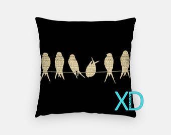 Bird Pillow, Musical Pillow Cover, Music Note Pillow Case, Blue Pillow, Team, Artistic Design, Home Decor, Decorative Pillow Case, Sham