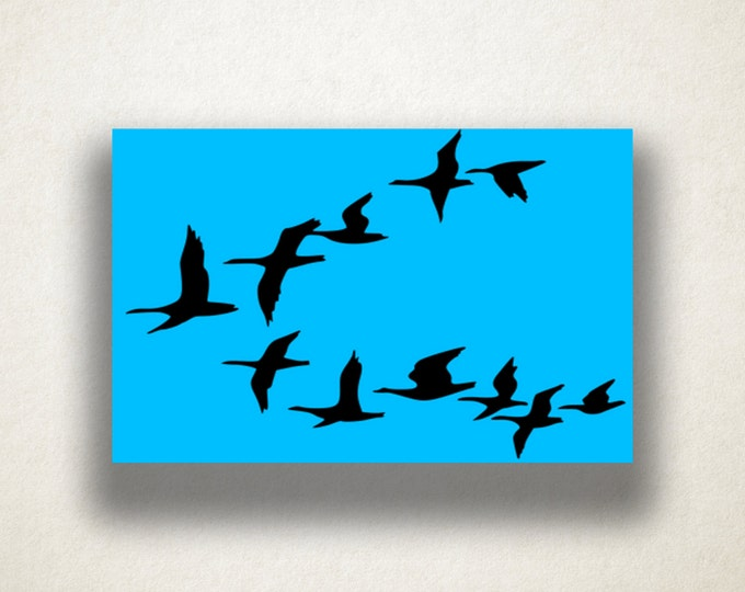 Geese Silhouette Canvas Art Print, Flying Geese Wall Art, Animal Canvas Print, Simple Wall Art, Canvas Art, Canvas Print, Home Art, Wall Art
