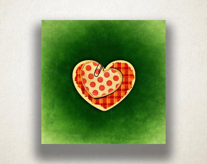 Plaid Heart Canvas Art Print, Polka Dot Heart Wall Art, Green Canvas Print, Artistic Wall Art, Canvas Art, Canvas Print, Home Art, Wall Art