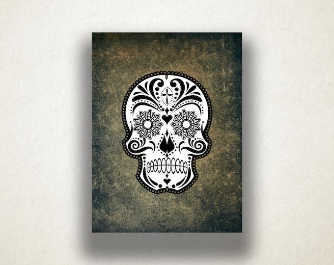 Sugar Skull Canvas Art Print, Day of the Dead Wall Art, Skull Canvas Print, Artistic Wall Art, Canvas Art, Canvas Print, Home Art, Wall Art
