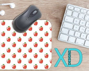 Fruit Mouse Pad, Fruit Mousepad, Apple Rectangle Mouse Pad, Red, White, Apple Circle Mouse Pad, Fruit Mat, Computer, Juicy, Food, School