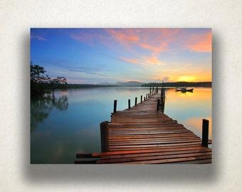 Sunset Canvas Art, Dock Wall Art, Nature Canvas Print, Dusk Wall Art, Forest Trees, Photograph, Canvas Print, Home Art, Wall Art Canvas