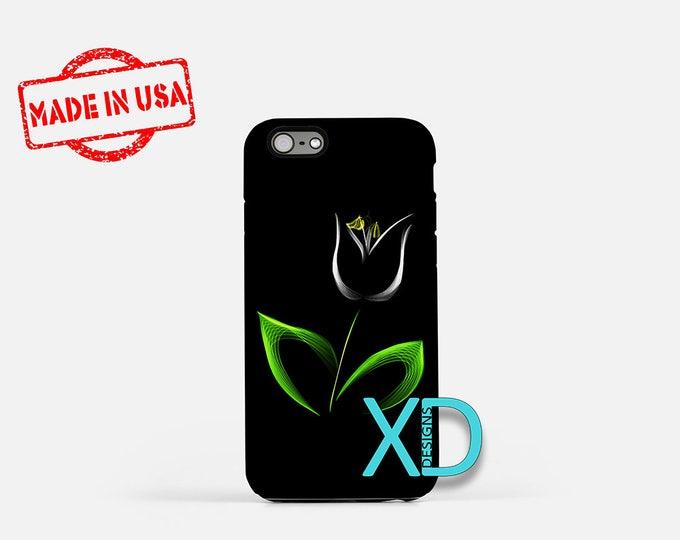 White Tulip iPhone Case, Black iPhone Case, White Tulip iPhone 8 Case, iPhone 6s Case, iPhone 7 Case, Phone Case, iPhone X Case, SE Case