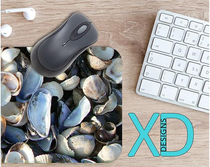 Seashell Mouse Pad, Seashell Mousepad, Beach Rectangle Mouse Pad, Beach, Beach Circle Mouse Pad, Beach Mat, Computer, Shell, Ocean, Water